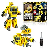 USA Toyz Truck Bots Construction Truck Robots for Kids - STEM Robot and Truck Take Apart Toys, 4-in-1 Action Robot, Construction Vehicles, and Building Toys Kit with Toy Screwdriver (19 Pieces)
