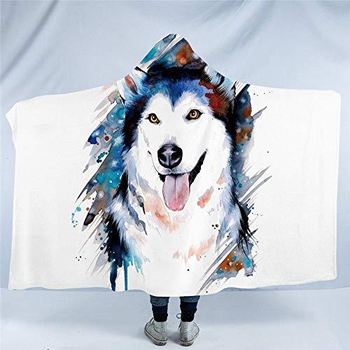 WWTZ Husky von Pixie Cold Art Decke mit Kapuze Aquarell Tier gedruckt weichen Sherpa Fleece niedlichen Hund Haustier blau tragbare Decke werfen