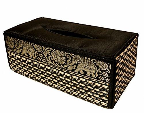 CCCollections Funda para Caja de pañuelos de Trenzado de caña Hecha con Materiales sostenibles y ecológicos y un Exquisito Ribete de Seda. (Negro)