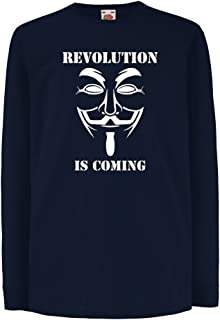 lepni.me キッズボーイズ/ガールズTシャツ 革命が起こっている - 匿名のハッカーマスク、V for Vendetta