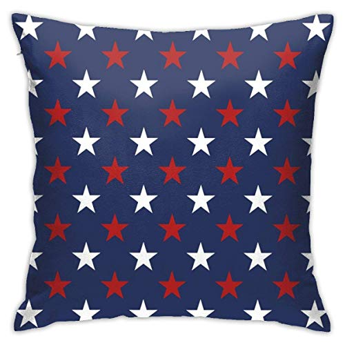 EU Red and White Stars Decorative Throw Pillow Cover Hidden Zipper Closure Cushion Case Bedroom Car Chair House Party Indoor 18 X 18 Inch