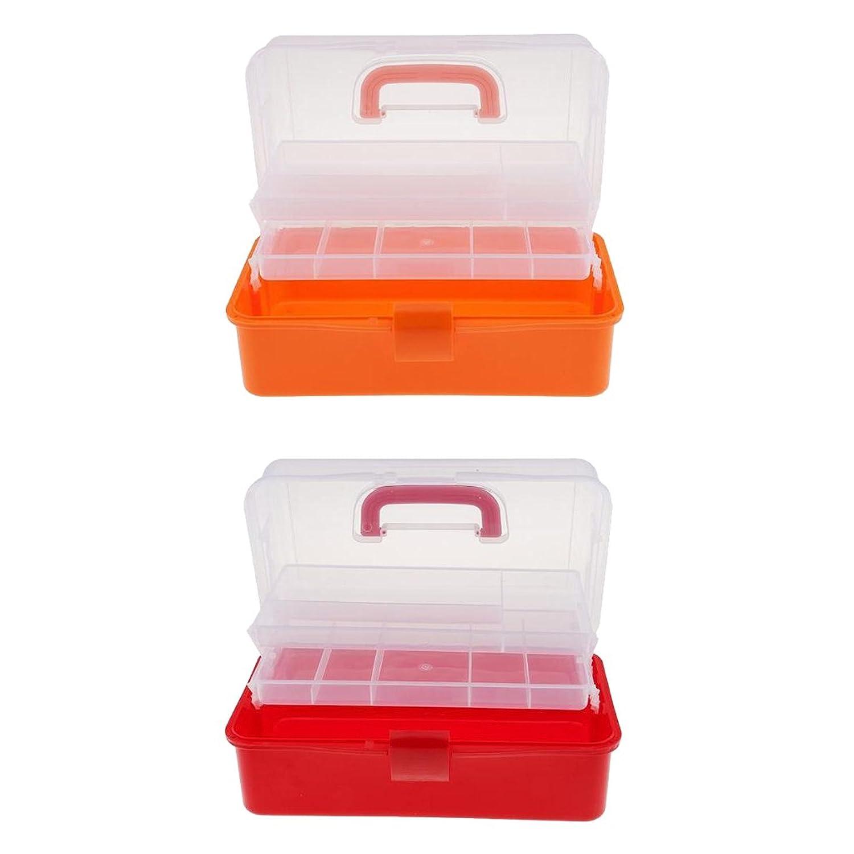 Kesoto 収納ボックス 3層 プラスチック製 スケース ネイルアート コスメ収納 2色セット 2個入り