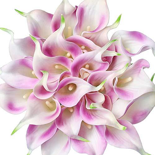 Veryhome 20 Stück Künstlich Calla Lilie Braut Blume Latex Wahre Berührung Familie Dekoration Party Hochzeit Hotel Dekoration Blumenstrauß (Lila)