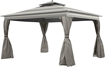 Garden Winds Replacement Canopy for The Allen Roth Finial Gazebo - Standard 350 - Stripe Stone