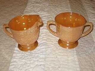 Vintage Anchor Hocking Fire King Glass Peach Luster Sugar Bowl & Creamer
