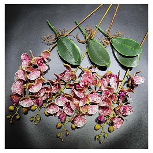 CQHUI Orchid Flower Arrangment Moth Orchids (4pcs Orchid+3pcs Leaf) Real Touch Flower Dining-Table Decoration Wedding Phalaenopsis (Color : Burgundy)