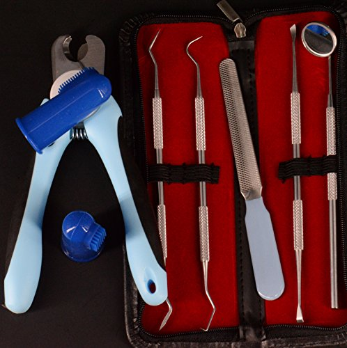 Yabber Dog Grooming/Puppy Dental Set + Finger K9 Tooth Brushes (2) + Nail Clippers [Large] + Nail File