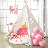 Wilwolfer Teepee Tent for Kids Foldable Children Play Tent for Girl and Boy with Carry Case 4 Poles White...