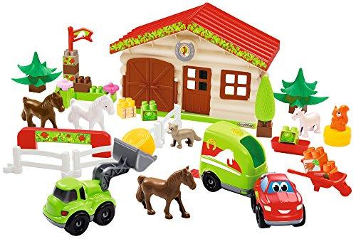 Jouets Ecoiffier -3036 - La ferme centre équestre Abrick – Jeu de construction pour enfants – Dès 18 mois – Fabriqué en France