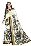 Jaanvi fashion Blanca Bhagalpuri Impresa Seda Sari De Las Mujeres con La Blusa Impreso