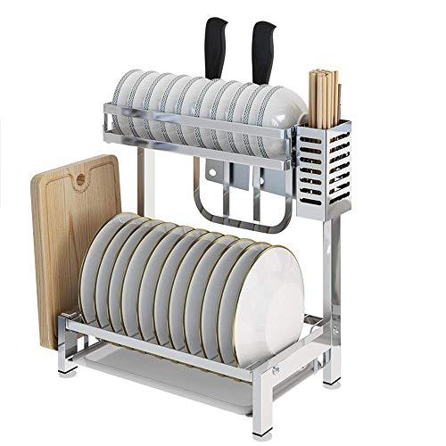 N /A Estante de lavavajillas de sobre encimera/Estante de Almacenamiento de Platos -304 Estante de Cocina de Acero Inoxidable (Doble Capa) -35.3 * 22 * 40.8cm