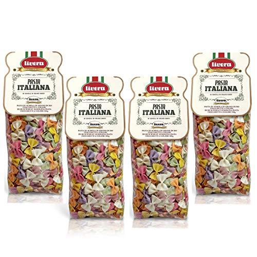 Livera Fiocchetti 6 Colores 4 X 500 Gr, Pasta Cortas de Sémola de Trigo Duro 100% Made in Italy, Pasta con Sabor y Color, Fiocchetti Artesanales, Pasta Artesanal italiana Seca