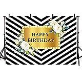 Fondo de fotografía de Rayas Doradas y Blancas Hermosas Flores Rosas niña Fiesta de cumpleaños telón de Fondo sesión fotográfica A4 10x10ft / 3x3m