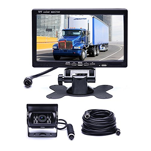 Car Backup Camera System, Hikity Waterproof 18 IR LED Night Vision Reverse Camera + 7' TFT Rear View Monitor Vehicle Parking System for RV/Bus/Trailer/Truck (65ft 4-Pin Aviation Video Cable)