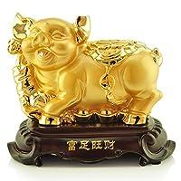 仏の飾り 富のための中国の黄道帯動物豚黄金豚の像、ホームデコレーションは、富と幸運、風水インテリアラッキー黄金豚の装飾を誘致します 風水飾り
