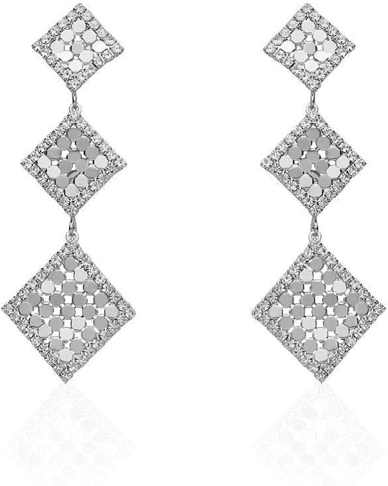 Stroili orecchini pendenti per donna con rombi e strass in metallo rodiato color argento 1666168