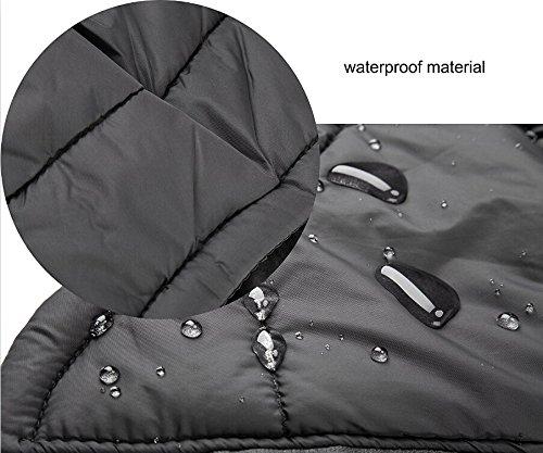 SelfLove Hundemantel aus 100% Wasserdicht Nylon Fleece Futter Jacke Reflektierende Hundejacke Warm Hundemantel Climate Changer Fleece Jacke einfaches An- und Ausziehen(L Schwarz) - 5