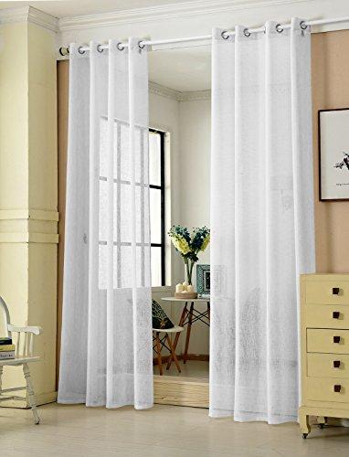 Laneetal Cortina Translúcida Moderno(2 Piezas) Evitar Rayos UV la Luz para Sala Cuarto Comedor Salon Cocina Habitación 140 x 245 cm Color Blanco 0880218z