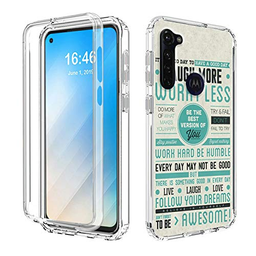 Moto G Stylus Clear Case,AIRWEE Dual Layer 2 and 1 Design Protective Case with Trantprent PC + TPU Shockproof Bumper Cover for Motorola Moto G Stylus 2020,Be The Best Version of You