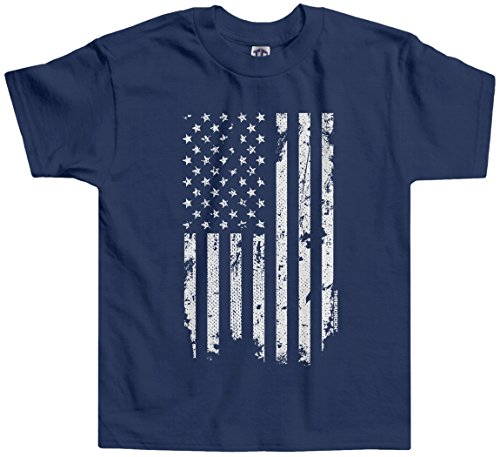 Threadrock Little Boys' Distressed White American Flag Toddler T-Shirt 4T Navy