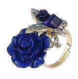 Cosanter Anillo Ajustable Rose Flowers Butterfly Diamond Ring Lady Ring Accesorios de la joyería Regalo de cumpleaños Anillo Abierto, Azul