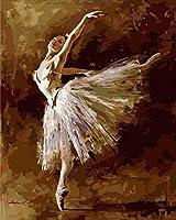 大人のためのDIYデジタル絵画デジタル絵画キット。白いドレスのバレリーナ40x50cmフレームレスキャンバス
