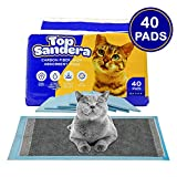 TOP Sandera High Moisture Absorbent Pee Pads Pack of 40 Cat Litter Pads for Kitty and Puppy with 6 Layer Absorption Formula - 16.9 x 11.4 Absorb Up to 750ml of Water Optimal for 2-3 Days of Use
