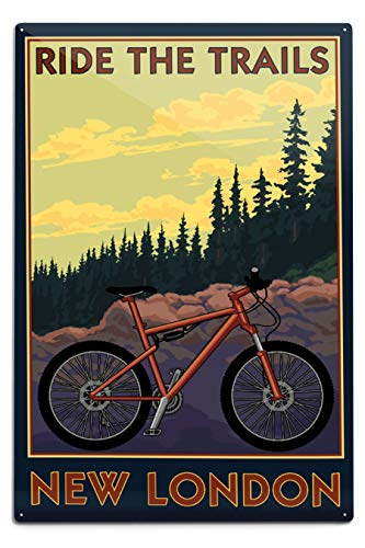 Lantern Press New London, Connecticut - Ride The Trails - Mountain Bike Scene 103120 (6x9 Aluminum Wall Sign, Wall Decor Ready to Hang)