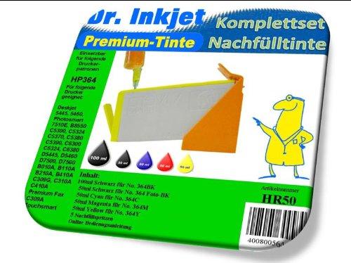 Dr.Inkjet Nachfülltinte für HP Patronen HP364-300ml Komplettset