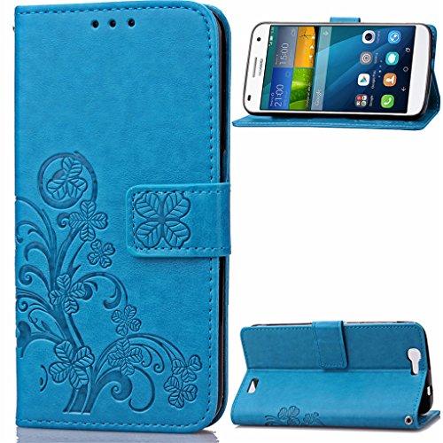 Huawei Ascend G7 Hülle, SATURCASE Glücksklee PU Leder Flip Magnetverschluss Brieftasche Standfunktion Kartenschlitze Tasche Hülle Schutzhülle Handycover für Huawei Ascend G7 (Blau)