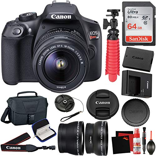 Canon EOS Rebel T6 Digital SLR Camera with EF-S 18-55mm f/3.5-5.6 Lens Kit + 64GB Memory Card + Carrying Case + Cleaning Kit + Telephoto and Wide Angle Lens + Filters