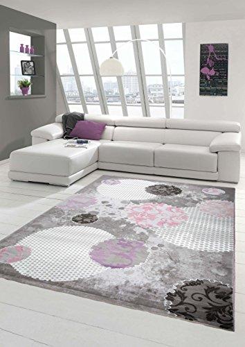 Designer Teppich Moderner Teppich Wollteppich Wohnzimmer Teppich Wollteppich mit Kreis Muster Pink...