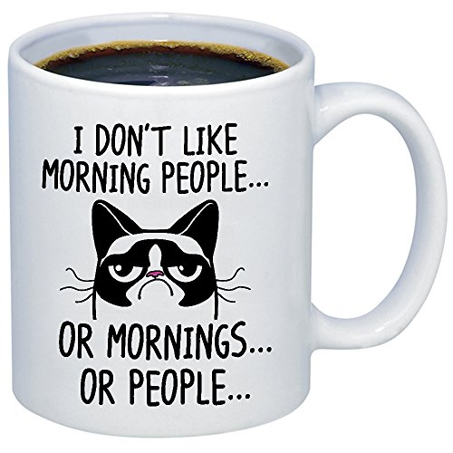 Funny Grumpy Cat Mug - I Don't Like Morning People... Or Mornings... Or People Coffee & Teacup - 11oz Ceramic Internet Meme Cup - Great Unique Gift Idea For Parents, Siblings, Friends, Him or Her