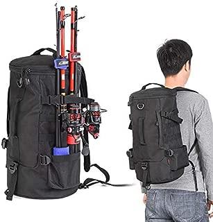 Dumcuw Fishing Tackle Backpack, Wide Sided Multifunctional Fishing Gear Bag Outdoor Shoulder Backpack, Waterproof Large Tackle Bag Fishing Storage Sling Bag for Traveling Fishing