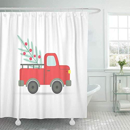 NA Dekorativt duschdraperi grön lastbilsbil med julgran röd tecknad topp bär köp firande kall vattentät mögelbeständig badrumskrok set gardiner