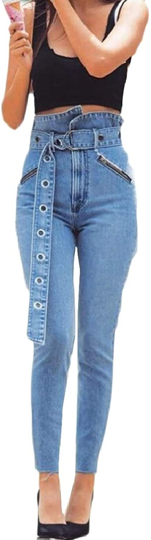 RGCA Womens Jeans Belt Washed Faded High Rise Straight Denim Pants
