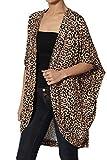 TheMogan Women's Leopard Print Dolman 3/4 Sleeve Open Front Cardigan Leopard M