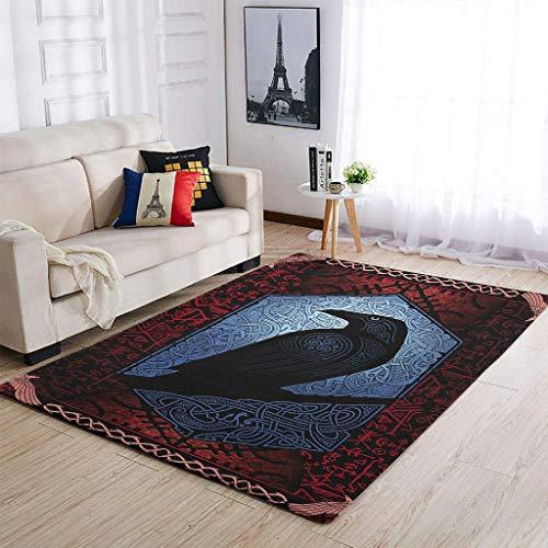 Alfombras lavables de estilo vikingo Odin Ravens muy lindas y cómodas para sala de estar, para niñas y niños, color blanco, 50 x 80 cm