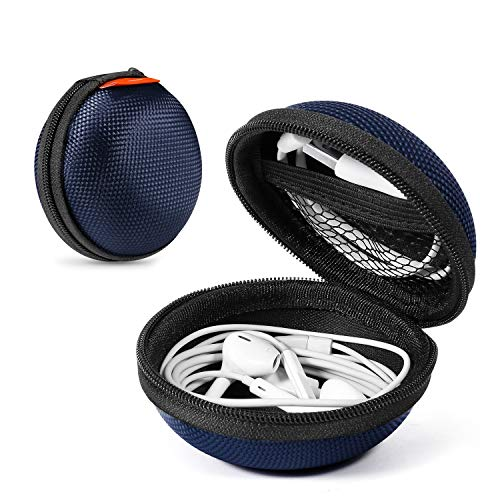 2 Packs Hard Earphone Case Headphone Organizer - Shockproof Mini Earbud Carrying Case for AirPods - High Protection Small EVA Storage Pouch Bluetooth Earpiece Bag - Lightweight Coin Purse (Grey Blue)