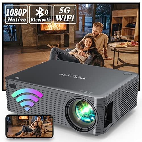 WISELAZER WiFi Bluetooth Proyector Full HD 1080P Nativo,Cine en Casa Proyector Soporte 4K Función de Zoom para Smartphone,Pc,TV Stick,etc (Black)