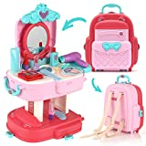 Kids Pretend Makeup for Toddlers, Toy Makeup Backpack with Nail Polish & Makeup Mirror, Princess Toys for Girls Makeup Kit & Makeup Vanity Mirror, Toddler Girl Toys & Games, Birthday Gifts for Girls