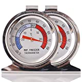 SuReady Refrigerator Freezer Thermometer, Oven Thermometer Large Dial Thermometer Set 2 - Monitor the Internal Temperature of Your Refrigerator, Freeze or Oven