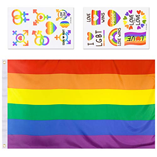 EAONE 3*5ft Regenbogen Flagge Pride Flaggen,Regenbogenfahne Flags LGBT Aufkleber,Banner Rainbow Flagge 2 Blatt Gay Pride Regenbogen Flagge Aufkleber Temporäre Tattoos für Party Reise Parade Dekoration