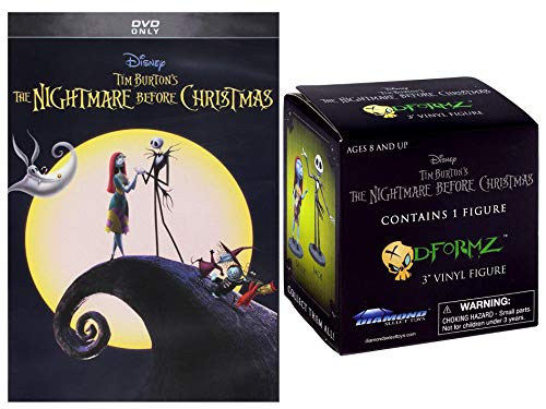 JACK's Very Long Night Bundle - Nightmare Before Christmas DVD + The Nightmare Before Christmas D-Formz random figurine Diamond Select 2 Item Bundle