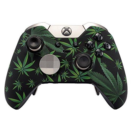 eXtremeRate Obere Hülle Schutzhülle Case Cover Oberschale Gehäuse Skin Schale für Xbox One Elite Controller Modell 1698(Xbox One Elite, Cannabis)