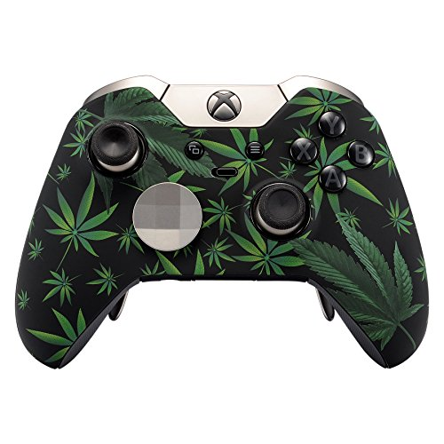 eXtremeRate Obere Hülle Schutzhülle Case Cover Oberschale Gehäuse Skin Schale für Xbox One Elite Controller (Xbox One Elite, Cannabis)