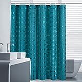 Luxus Dunkelgrün Duschvorhang Anti-Schimmel und Wasserdicht Polyester Duschvorhang für Badezimmer mit verstärktem Saum mit Haken 180x200cm