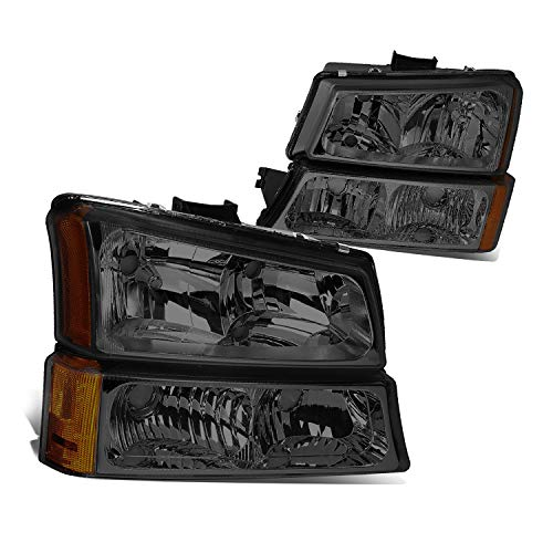 Replacement Headlights Assembly GCVSV03-H4 Front Signal Lights Chrome Housing Amber Reflector Smoke Lens For Chevrolet Silverado 1500 HD 2500 HD Chevy Avalanche 2003-2007 Passenger And Driver Side