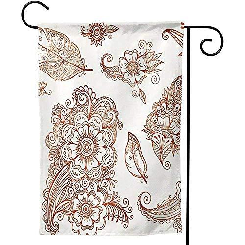 CHANGSHABF Garten Flagge Gliederung Blume Federn Henna, Premium doppelseitig, saisonale Frühling Sommer im Freien lustige Garten Hof Rasen dekorative Fahnen 30x45cm
