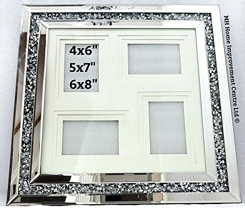MH Diamond Crush Crystal Effect Silver Mirrored Multi Photo Frame Collage...